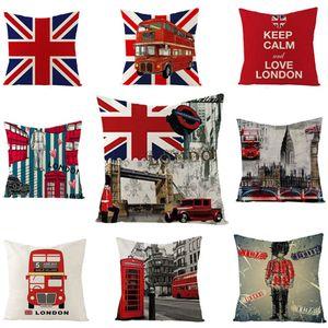 British Wind Pillowcase 45 * 45cm Britische Flagge Pillowcase Heimschlafsofa Dekor Kissenbezug Einseitiger Druck Büro Pillowcase BH1407 TQQ
