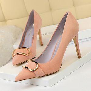 BigTree metallo fibbia della cintura Scarpe Donna Scarpe da sposa sposa rosa con tacco di lusso Bigtree sexy Alta Talon Femme