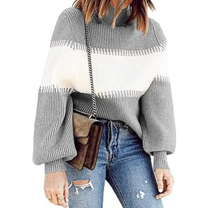 New Womens Sweaters Pullover Lantern Sleeve Turtle Neck Womens Clothing Gray Women Sweaters European and American Style Panelled Sweater