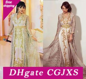 Elehgant Robes de soirée 2019 Caftan marocain Robe en dentelle Appliuques col en V à manches longues Taille Plus robe de soirée robe de mariée