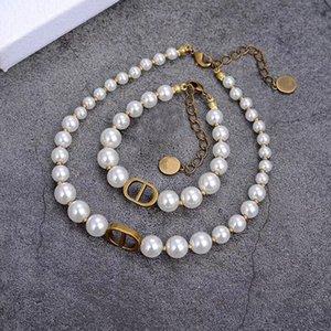 Dijia collier de perles D lettre CD femme bijoux bracelet simple tempérament choker