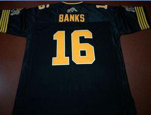 Пользовательские Мужчины Hamilton Tiger-Cats # 16 Brandon Банка реального Полных вышивок Колледж Джерси размера S-6XL или настраиваемый любое имя или номер джерси