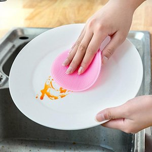 Silicone Dish Bowl Cleaning Brushes Multifunction 5 colors Scouring Pad Pot Pan Wash Brushes Cleaner Kitchen Dish Washing Tool VM3222