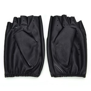 1 Çifti Moda motorlu Punk Eldiven Unisex Siyah PU Deri Parmaksız Eldiven Katı Kadın Yarım Parmak Sürüş Erkekler