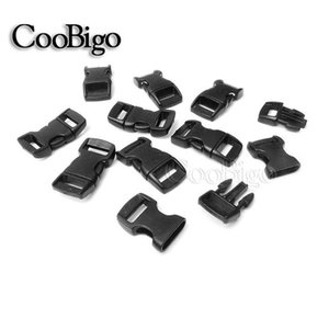 "amping & Hiking Paracord 50pcs Plastic Curved Side Release Buckle Black 3 8"" (10mm) for Strap Paracord Bracelet Pet Collar Backpacks..."