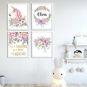 Nombre del bebé cartel personalizado chica Nursery Wall Art unicornio canvas Firma de los floristas Dormitorio impresión de la pintura cuadro de la decoración OUX0 #