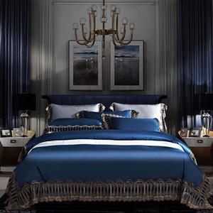 44 Chic Lace Duvet Cover Set 1000TC Solid Color Egyptian Cotton Duvet Quilt Cover with Zipper Bedding Set King Queen Size 4Pcs