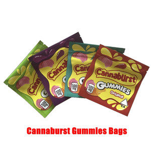 Nuovo Cannaburst gummmies Confezioni 4 tipi 500mg Cannaburst sacchetti prova imballaggio commestibile odore Gushers Sour commestibili caramella vuoto sacchetti mylar