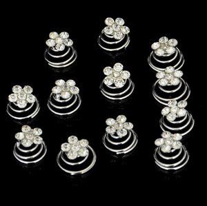 Wholesale 12Piece lot New Wedding Bridal Silver Plated Crystal Imitation Pearl Swirl Twist Hair Spin Pins Women ps2339