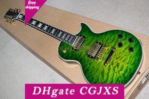 Fabrika Özel Yeşil Vücut Kaplan Alev Maple Kaplama Elektro Gitar ile Altın Madeni Sabit Köprü, Beden, Özel Olabilir Binding