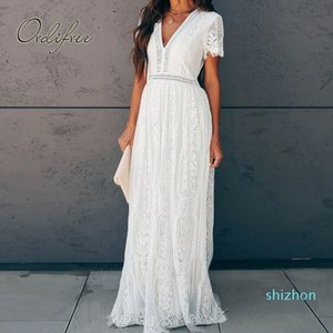 Hot Sale Ordifree 2020 Summer Women Maxi Tunic Dress Short Sleeve White Lace Long Beach Dress Vocation Holiday Clothes