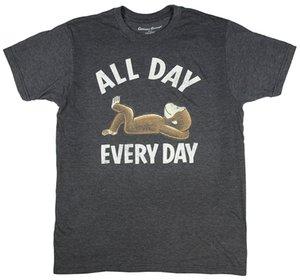 Любопытный Джордж весь день, каждый день Лицензионный Графический T-Shirt