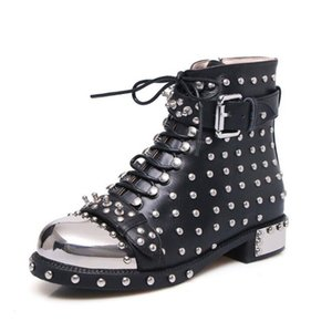 Metal Square-Heel Round Toe Lace-up Boots Punk Goth Shoes For Women Rivet Belt Buckle Ankle Boots New Arrival 2020