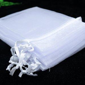 الجملة 100pcs جودة عالية 17x23cm كبيرة لصالح الأورجانزا حقيبة أبيض اللون حلوى الزفاف هدية حقيبة حقائب تغليف المجوهرات الحقائب