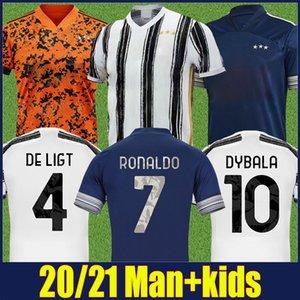 2020 clubes de Italia camiseta de fútbol Los bianconeri Negro camisa de rayas blancas niños conjunta Edición kit Cristiano camiseta de fútbol de Orange GK Jersey