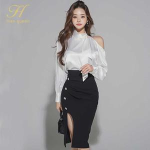 H Han Queen Women 2020 Autumn New Work 2 Pieces Set Off The ShoulderBlouses & Split Sheath Pencil Skirt Korean Simple Skirt Suit