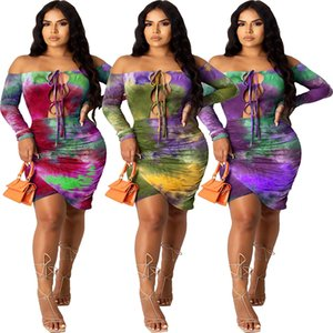 Mulheres Sexy Night Club Partido Bodycon Midi Tie Dye Imprimir Lace Up oco Out Alças Irregular Stacked mini vestido
