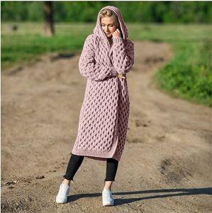 20FW Frauen Jacken Strickjacke Winter einfarbig Langarm mit Kapuze Lange Strickmantel Frauen Kleidung