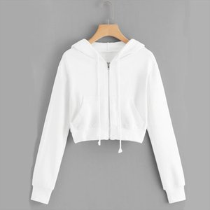 Autumn Women Zipper Crop Top Sweatwear Hoodies Casual Solid Long Sleeve Pocket Shirt Hooded Sweatshirt Tops Zip up Coat Hoodie