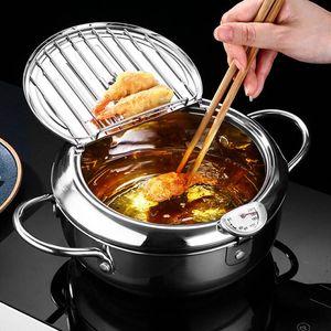 Fritadeira Frigideira vaso filtrante Termômetro Para Cooker Filtro de óleo de cozinha em aço inoxidável Pot fritadeiras Home Kitchen Ferramenta AHA873