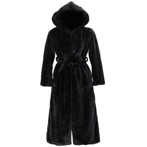 Black Faux Coat Women Thick Winter Casual Solid Slim Outwear Long Style Plush Faux Hooded Warm Coat