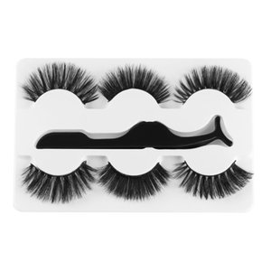 3 Pairs Mixed Styles With 1pc Tweezer 3D Mink False Eyelashes Fluffy Wispy Lashes Natrual Long Handmade Eye Makeup Tools