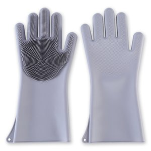 Magic Silicone Scrubber Rubber Cleaning Gloves Dusting Dish Washing Pet Care Grooming Hair Car Insulated Kitchen Helper Y200421