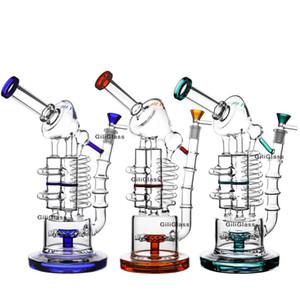 Énorme recycleur Bongs Coil Tube en verre Beaker Bong Rudder Percolateur Les conduites d'eau en nid d'abeille Perc barboteur pipe avec bol en verre 14mm