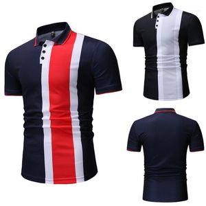Shirt Summer Designer Slim Fit Patchwork Polos Homme Casual Clothes Mens Lapel Neck POLO