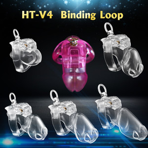 2021 New V4 Cage with Binding Loop Ring Male Chastity Device Cock Bondage Penis Belt Fetish Adult Sex Toys