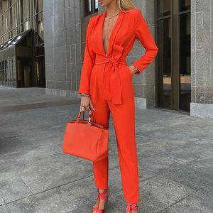 Women Autumn Women Set Tracksuit Long Sleeve Blazers Pants Suit Two Piece Set Fashion Office Lady Sash Business Wear