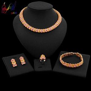 Yulaili moda jóias Define Rose Gold Romântico Símbolo do Coração de Cristal Choker Brincos Bracelet Ring for presentes Mulheres férias