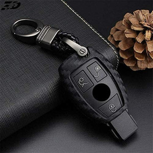 Key Case Silica Gel Carbon Fiber Car Key Cover Case For Mercedes Benz W204 W205 W212 C S E Class Keyrings Holders Accessories