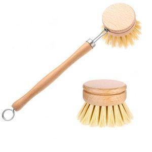 Natural de madera de mango largo plato de la cacerola del pote del cepillo barreño de recambio de cepillo de limpieza cabezas de cepillo de limpieza del hogar cocina Herramientas DHE1821