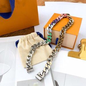 Collar unisex Collar de plateado de plata colorido Todo el acero hecho de diamante collares de cadena multicolores para el suministro de joyería de regalo