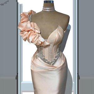 Sexy Long Peach Evening Dresses 2021 Ruffles Beads Mermaid Formal Satin Evening Gowns Vestidos De Soiree