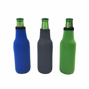 Beer Bottle Sleeve Neoprene Insulation Bags Holder Zipper Soft Drinks Covers With Stitched Fabric Edges Bareware Tool GWD9119
