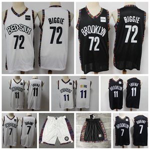 2020 Mens 72 Biggie BrooklynNetsJersey Authentic Stitched Kyrie Irving Kevin Durant 72 Biggie Swingman Basketball Jersey Shorts