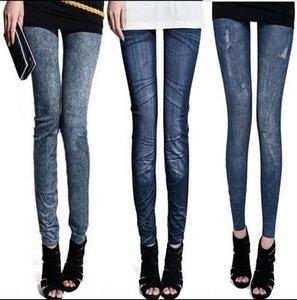 ETOtP Hot Sale new seamless knitted thermal transfer nine-point imitation tight pants Denim tight pants denim leggings