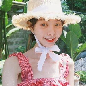 Fan butterfly cornice cap cornice cap Zhiqiao's same style lace-up tie bowknot woolen raffia women's summer big Eaves Beach Hat sun hat NQWu