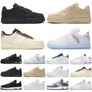 nike air force airforce forces 1 af1 react hommes femmes chaussures de course Light Bone White Black outdoor hommes formateurs de sport sneakers runners