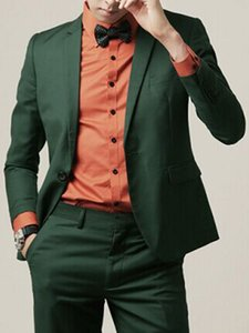 Dark Green Slim Fit Mens Suits For One Button Wedding Groom Tuxedo 2 Piece Jacket Pants Singer Prom Men Stage Clothes Autumn