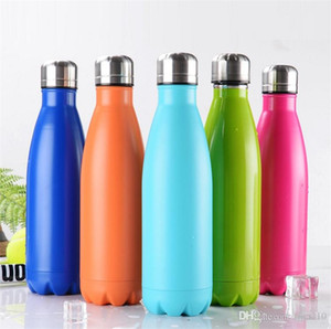 Newest 350ml   500ml Vacuum Cup Coke Mug Stainless Steel Bottles Insulation Cup Thermoses Fashion Movement Veined Water Bottles B1124