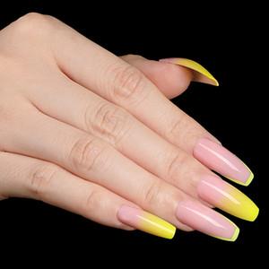 24pcs / boîte à la mode style français presse dégradé sur les ongles cercueil jaune brillant ballerine Wearable faux ongles Équipement de beauté T