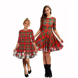 Green Starry Sky Christmas Snowflake Print Mother And Daughter With Mid Sleeve Dress Fashion European And American Exquisite Dress