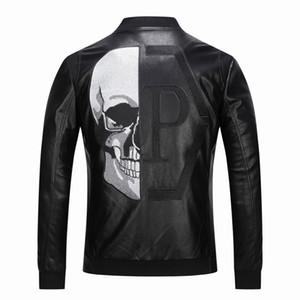 homens marca jaqueta de couro Pr crânios jaqueta de couro hip hop casaco Casual alta qualidade mens fashiona luxo roupas de Fitness Ásia Tamanho M-3XL