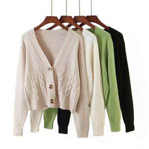2020 New women Knit Cardigan Full sleeve V-neck casual Fashion Knited top outerwear femme sweater female
