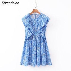 Efvandoloe Женщины Blue Print платье Ruffles рукавов Sweet Короткие платья лета O шеи Vestidos