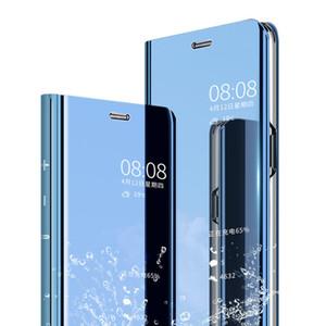 El caso elegante del espejo para OPPO A52 A92 A72 A91 A31 A8 F15 A5 A9 2020 lujo con vista al tirón del cuero de la cubierta para el OPPO Reno 3 4 5 6 Realme Pro Pro C3