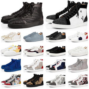 New red bottoms men women shoes spikes fashion high top sneakers Black White Glitter Grey leather suede mens casual shoe jogging walking